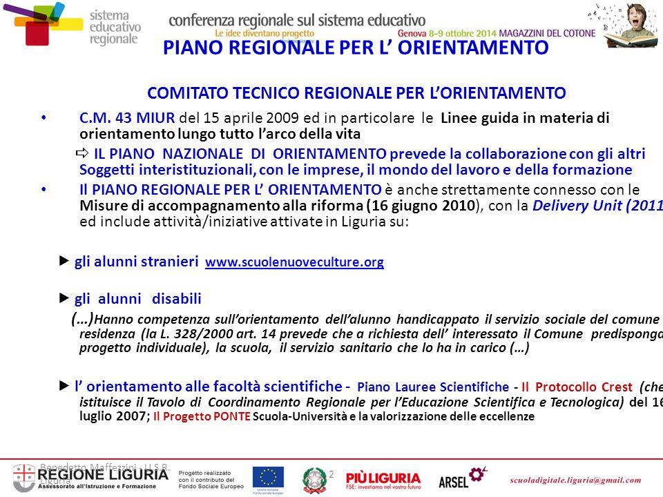 Benedetto Maffezzini - U.S.R. Liguria 2 PIANO REGIONALE PER L' ORIENTAMENTO COMITATO TECNICO REGIONALE PER L'ORIENTAMENTO C.M. 43 MIUR del 15 aprile 2