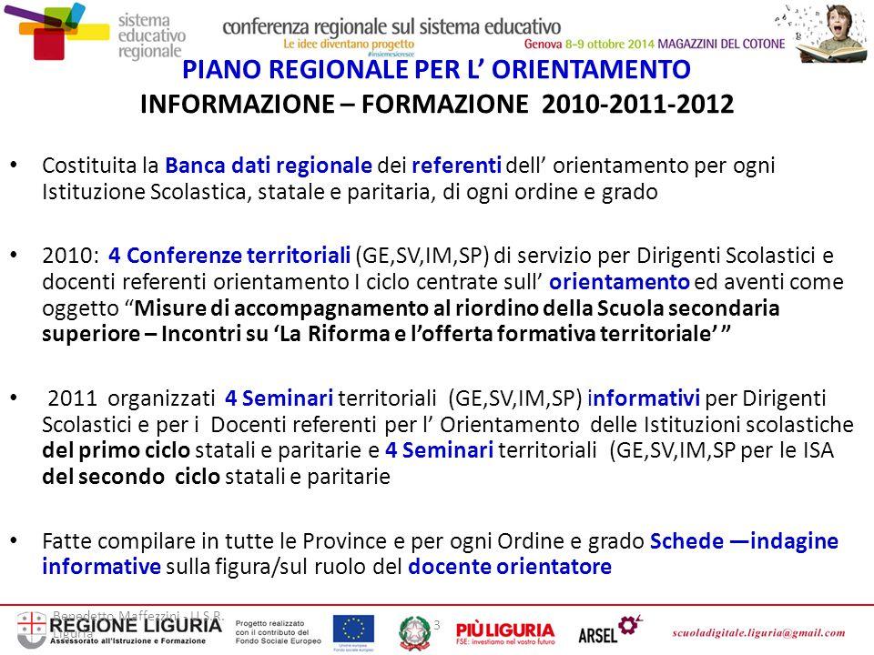 Benedetto Maffezzini - U.S.R. Liguria 3 PIANO REGIONALE PER L' ORIENTAMENTO INFORMAZIONE – FORMAZIONE 2010-2011-2012 Costituita la Banca dati regional