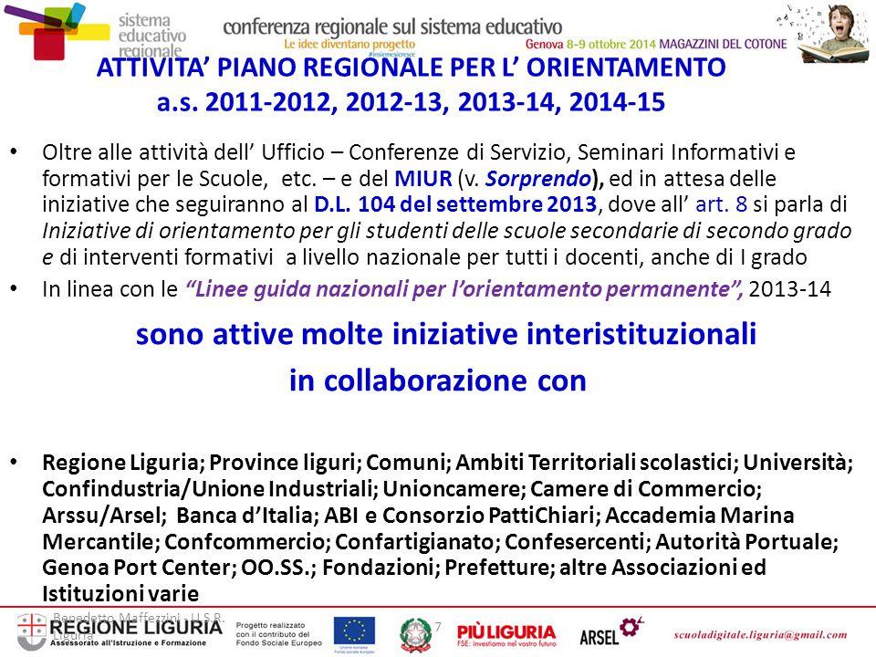 Benedetto Maffezzini - U.S.R. Liguria 7 ATTIVITA' PIANO REGIONALE PER L' ORIENTAMENTO a.s. 2011-2012, 2012-13, 2013-14, 2014-15 Oltre alle attività de