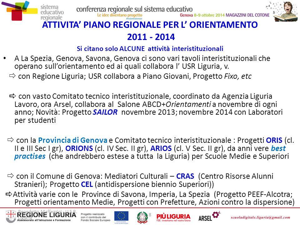 Benedetto Maffezzini - U.S.R. Liguria 8 ATTIVITA' PIANO REGIONALE PER L' ORIENTAMENTO 2011 - 2014 Si citano solo ALCUNE attività interistituzionali A