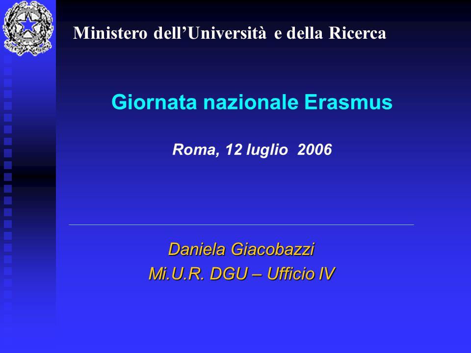 Giornata nazionale Erasmus Roma, 12 luglio 2006 Daniela Giacobazzi Mi.U.R.