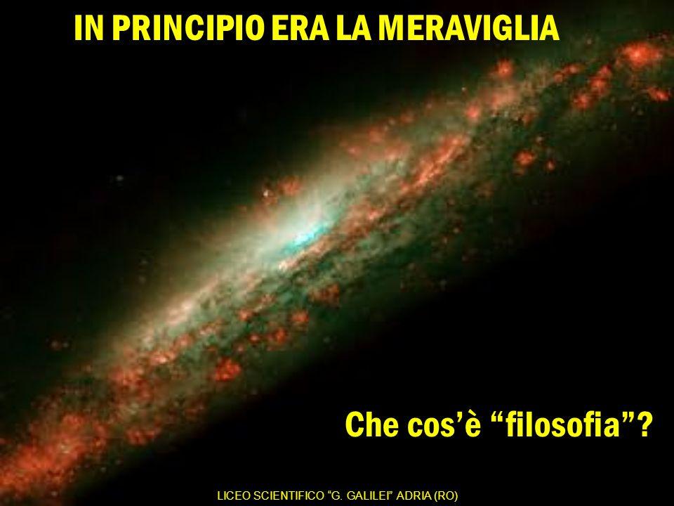 LICEO SCIENTIFICO G. GALILEI ADRIA (RO) Che cos'è filosofia ? IN PRINCIPIO ERA LA MERAVIGLIA