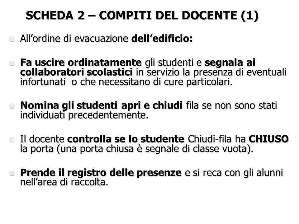 SCHEDA 2 – COMPITI DEL DOCENTE (1) n All'ordine di evacuazione dell'edificio: n Fa uscire ordinatamente gli studenti e segnala ai collaboratori scolas