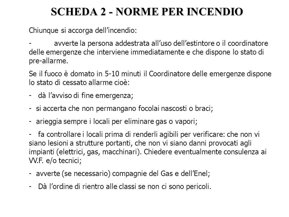 SCHEDA 2 - NORME PER INCENDIO Chiunque si accorga dell'incendio: - avverte la persona addestrata all'uso dell'estintore o il coordinatore delle emerge