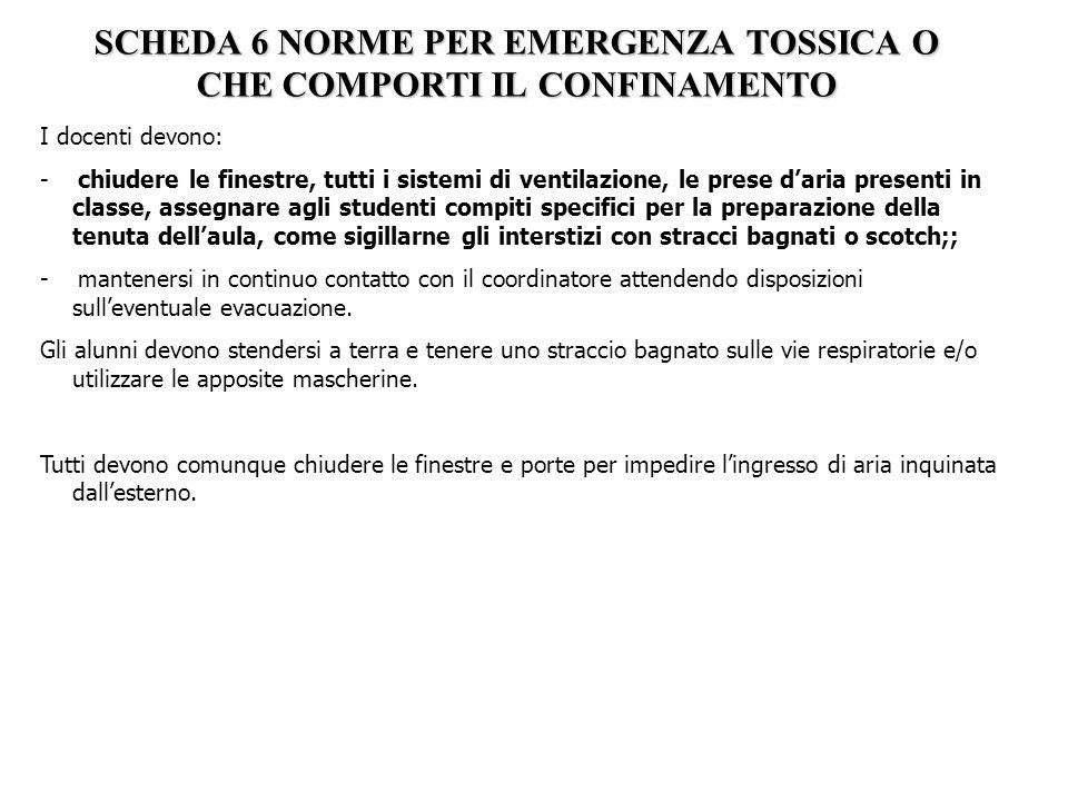 SCHEDA 6 NORME PER EMERGENZA TOSSICA O CHE COMPORTI IL CONFINAMENTO I docenti devono: - chiudere le finestre, tutti i sistemi di ventilazione, le pres