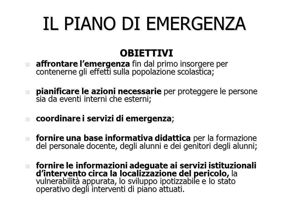 IL PIANO DI EMERGENZA OBIETTIVI n affrontare l'emergenza fin dal primo insorgere per contenerne gli effetti sulla popolazione scolastica; n pianificar