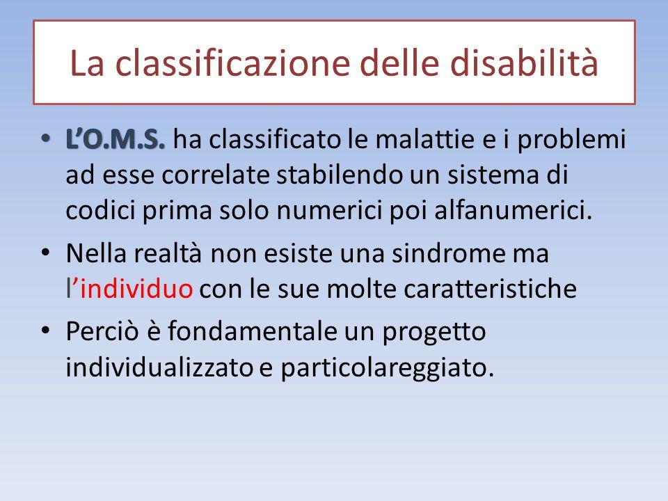 La classificazione delle disabilità