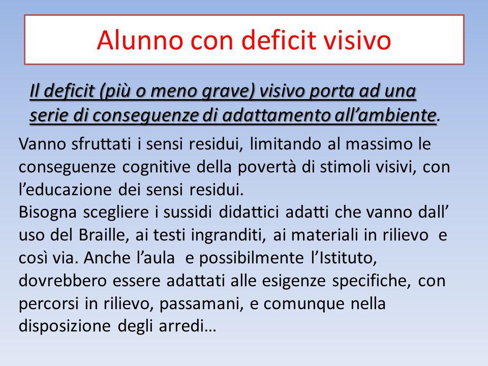 Alunno con deficit visivo Il deficit (più o meno grave) visivo porta ad una serie di conseguenze di adattamento all'ambiente Il deficit (più o meno gr
