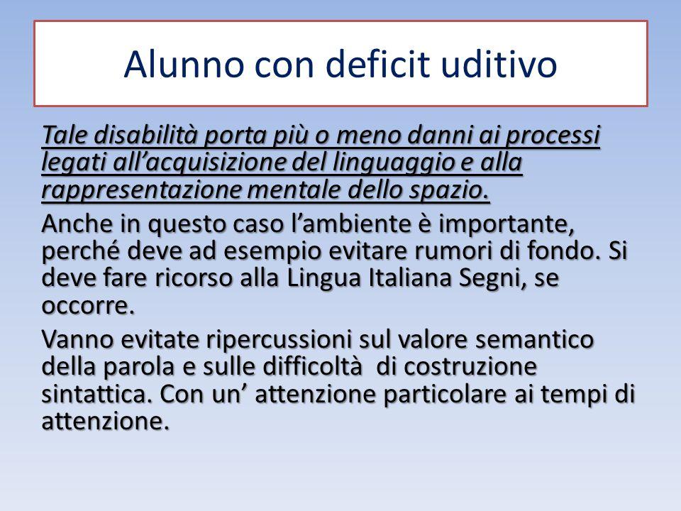Alunno con deficit uditivo Tale disabilità porta più o meno danni ai processi legati all'acquisizione del linguaggio e alla rappresentazione mentale d