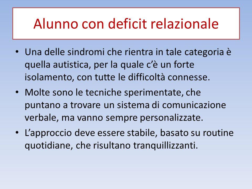 Alunno con deficit relazionale Una delle sindromi che rientra in tale categoria è quella autistica, per la quale c'è un forte isolamento, con tutte le