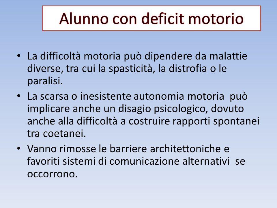 La difficoltà motoria può dipendere da malattie diverse, tra cui la spasticità, la distrofia o le paralisi. La scarsa o inesistente autonomia motoria