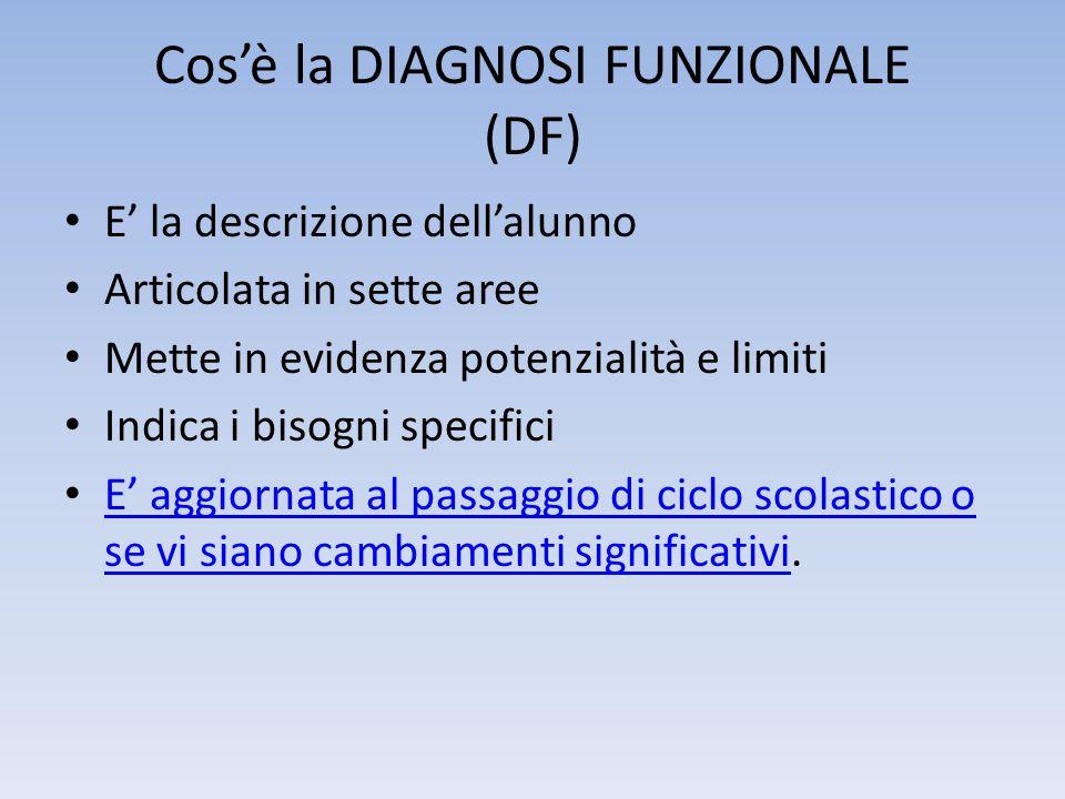Cos'è la DIAGNOSI FUNZIONALE (DF) E' la descrizione dell'alunno Articolata in sette aree Mette in evidenza potenzialità e limiti Indica i bisogni spec