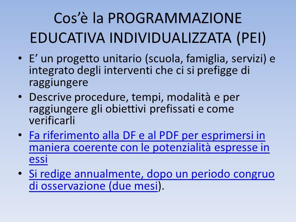 Cos'è la PROGRAMMAZIONE EDUCATIVA INDIVIDUALIZZATA (PEI) E' un progetto unitario (scuola, famiglia, servizi) e integrato degli interventi che ci si pr