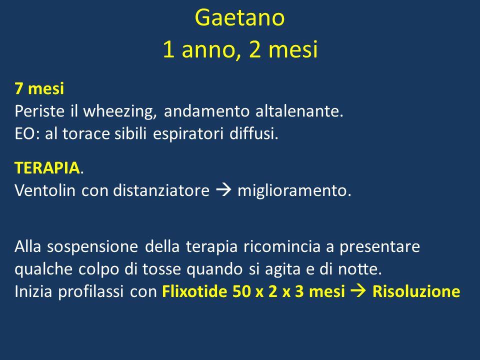 Gaetano 1 anno, 2 mesi 7 mesi Periste il wheezing, andamento altalenante.