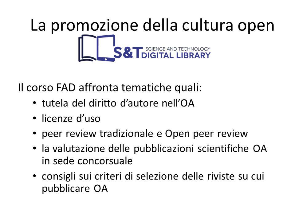 Il corso FAD affronta tematiche quali: tutela del diritto d'autore nell'OA licenze d'uso peer review tradizionale e Open peer review la valutazione de