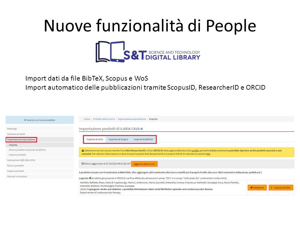 Import dati da file BibTeX, Scopus e WoS Import automatico delle pubblicazioni tramite ScopusID, ResearcherID e ORCID