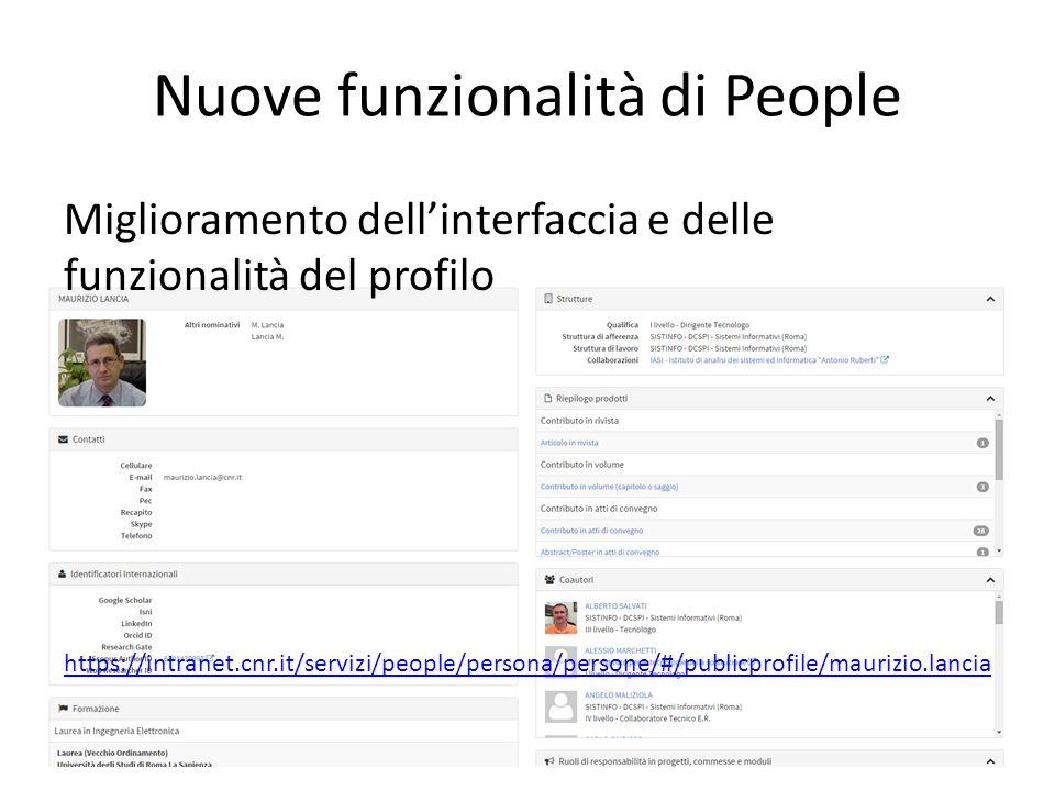 Nuove funzionalità di People Miglioramento dell'interfaccia e delle funzionalità del profilo https://intranet.cnr.it/servizi/people/persona/persone/#/