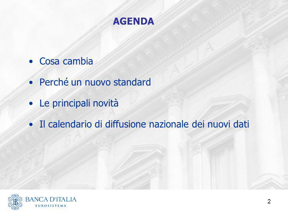Cosa cambia Perché un nuovo standard Le principali novità Il calendario di diffusione nazionale dei nuovi dati 2 AGENDA
