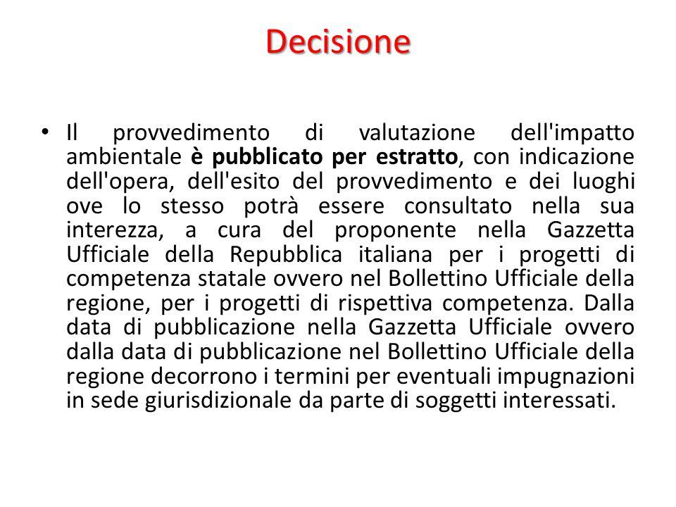 Decisione Il provvedimento di valutazione dell'impatto ambientale è pubblicato per estratto, con indicazione dell'opera, dell'esito del provvedimento