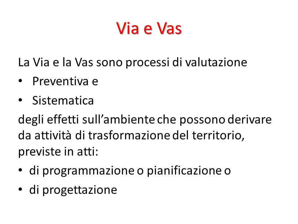 Via e Vas La Via e la Vas sono processi di valutazione Preventiva e Sistematica degli effetti sull'ambiente che possono derivare da attività di trasfo