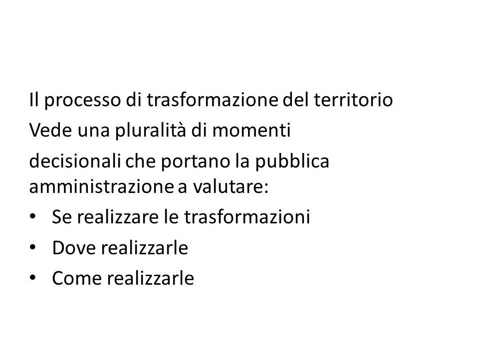 Il processo di trasformazione del territorio Vede una pluralità di momenti decisionali che portano la pubblica amministrazione a valutare: Se realizza