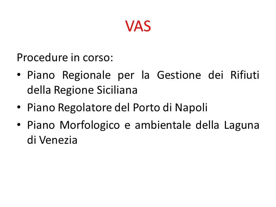 VAS Procedure in corso: Piano Regionale per la Gestione dei Rifiuti della Regione Siciliana Piano Regolatore del Porto di Napoli Piano Morfologico e a