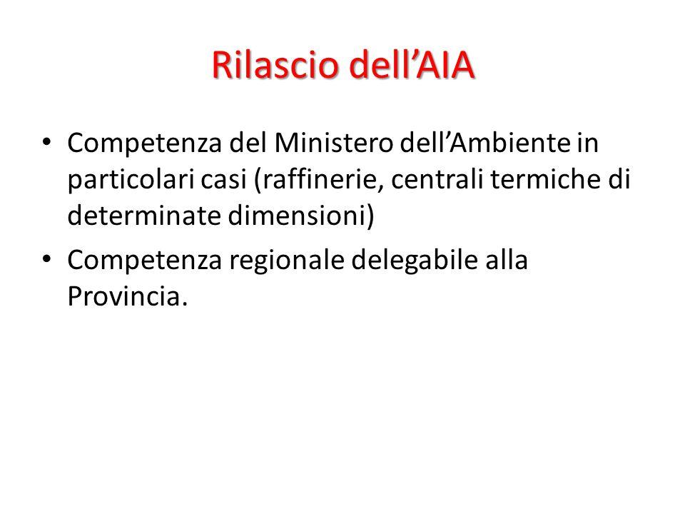 Rilascio dell'AIA Competenza del Ministero dell'Ambiente in particolari casi (raffinerie, centrali termiche di determinate dimensioni) Competenza regi
