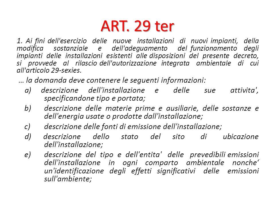 ART. 29 ter 1. Ai fini dell'esercizio delle nuove installazioni di nuovi impianti, della modifica sostanziale e dell'adeguamento del funzionamento deg