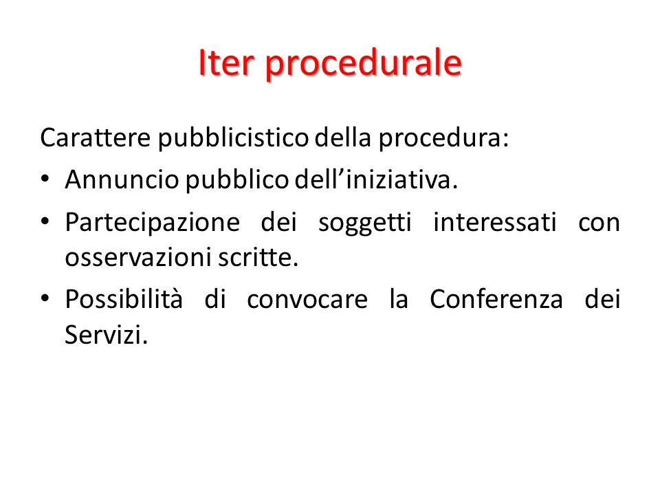 Iter procedurale Carattere pubblicistico della procedura: Annuncio pubblico dell'iniziativa. Partecipazione dei soggetti interessati con osservazioni
