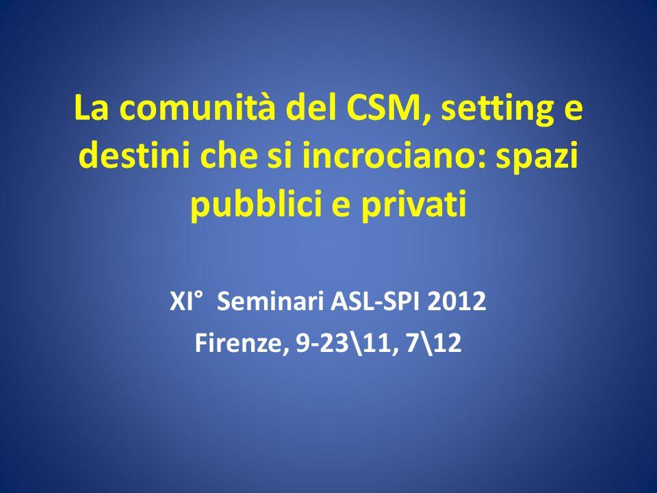 La comunità del CSM, setting e destini che si incrociano: spazi pubblici e privati XI° Seminari ASL-SPI 2012 Firenze, 9-23\11, 7\12