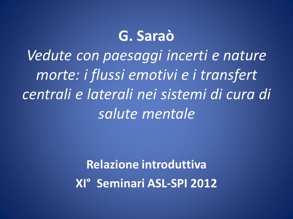 La comunità del CSM, setting e destini che si incrociano: spazi pubblici e privati Relazione introduttiva di G.Saraò XI° Seminari ASL-SPI 2012 Firenze, 9-23\11, 7\12
