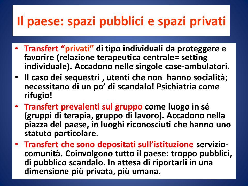 Il paese: spazi pubblici e spazi privati Transfert privati di tipo individuali da proteggere e favorire (relazione terapeutica centrale= setting individuale).