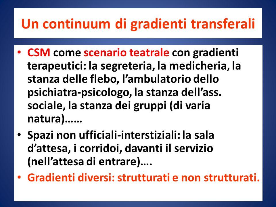 Un continuum di gradienti transferali CSM come scenario teatrale con gradienti terapeutici: la segreteria, la medicheria, la stanza delle flebo, l'ambulatorio dello psichiatra-psicologo, la stanza dell'ass.