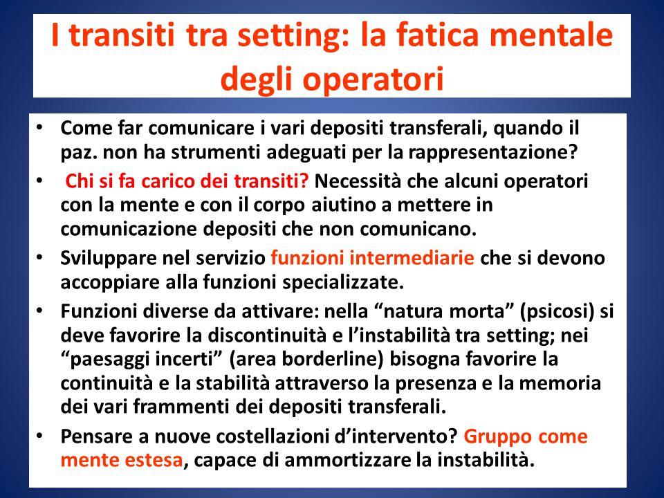 I transiti tra setting: la fatica mentale degli operatori Come far comunicare i vari depositi transferali, quando il paz.