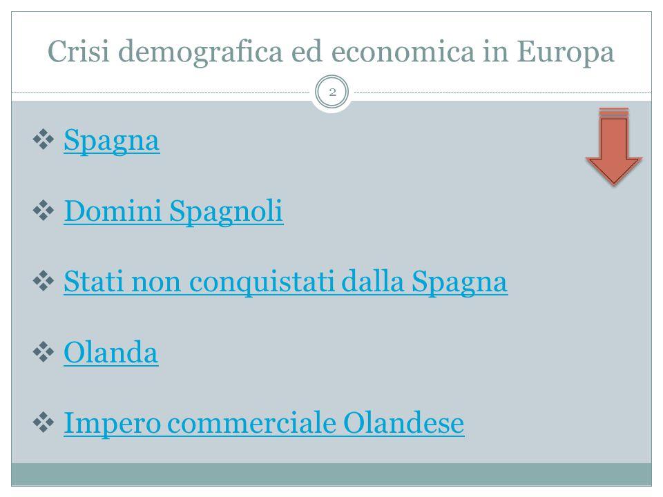 Crisi demografica ed economica in Europa  SpagnaSpagna  Domini SpagnoliDomini Spagnoli  Stati non conquistati dalla SpagnaStati non conquistati dalla Spagna  OlandaOlanda  Impero commerciale OlandeseImpero commerciale Olandese 2