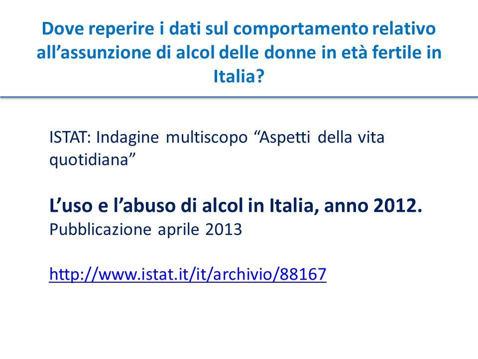 """Dove reperire i dati sul comportamento relativo all'assunzione di alcol delle donne in età fertile in Italia? ISTAT: Indagine multiscopo """"Aspetti dell"""
