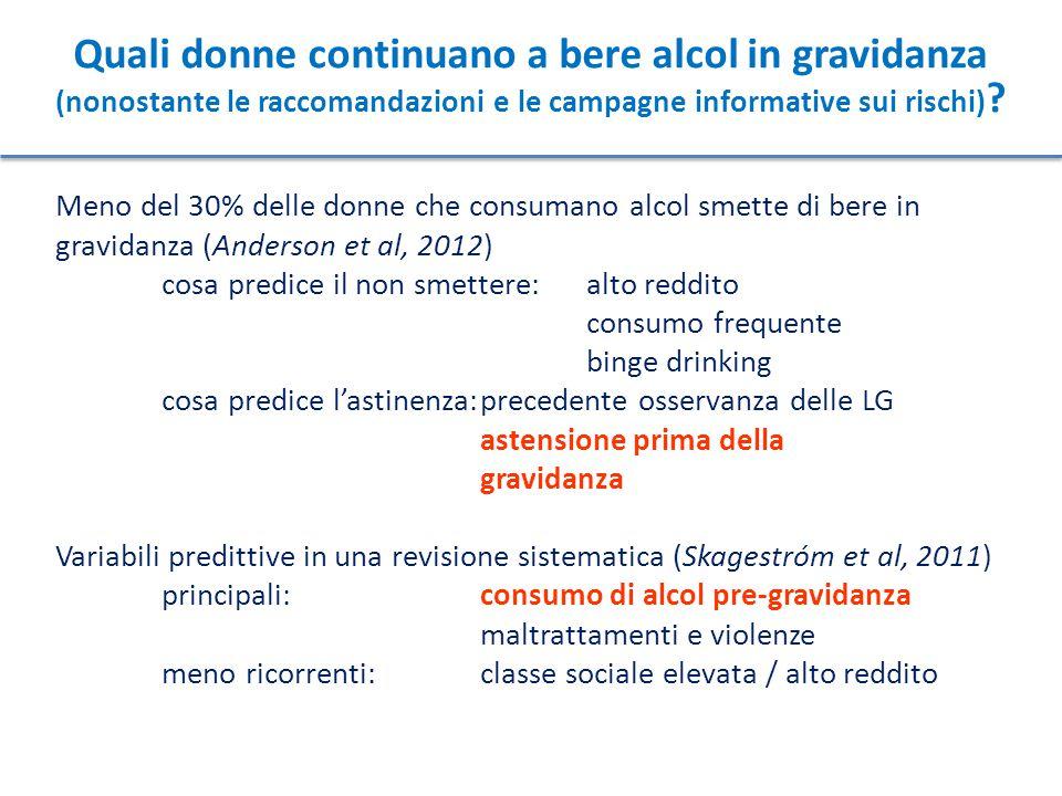 Quali donne continuano a bere alcol in gravidanza (nonostante le raccomandazioni e le campagne informative sui rischi) ? Meno del 30% delle donne che