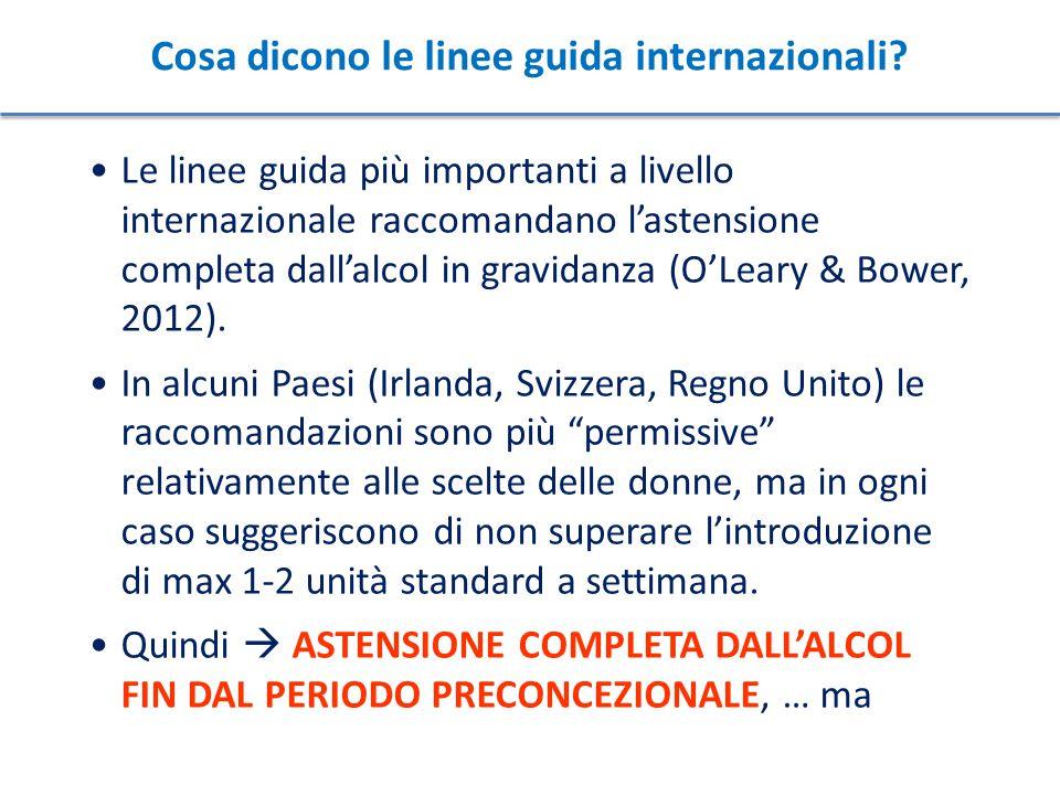 Cosa dicono le linee guida internazionali? Le linee guida più importanti a livello internazionale raccomandano l'astensione completa dall'alcol in gra