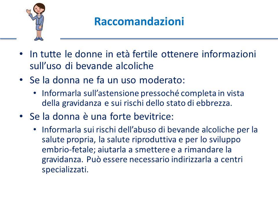 Raccomandazioni In tutte le donne in età fertile ottenere informazioni sull'uso di bevande alcoliche Se la donna ne fa un uso moderato: Informarla sull'astensione pressoché completa in vista della gravidanza e sui rischi dello stato di ebbrezza.