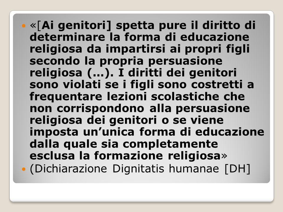 «[Ai genitori] spetta pure il diritto di determinare la forma di educazione religiosa da impartirsi ai propri figli secondo la propria persuasione religiosa (...).