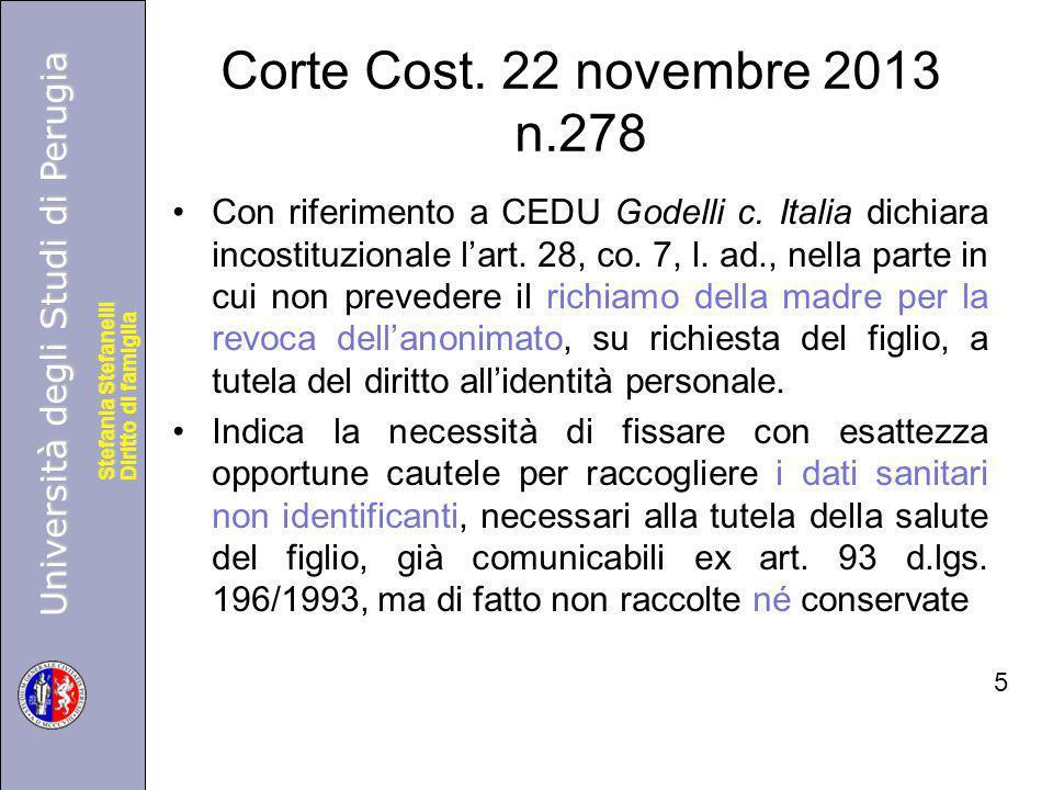 Università degli Studi di Perugia Diritto di famiglia Stefania Stefanelli Università degli Studi di Perugia Diritto di famiglia Stefania Stefanelli Corte Cost.
