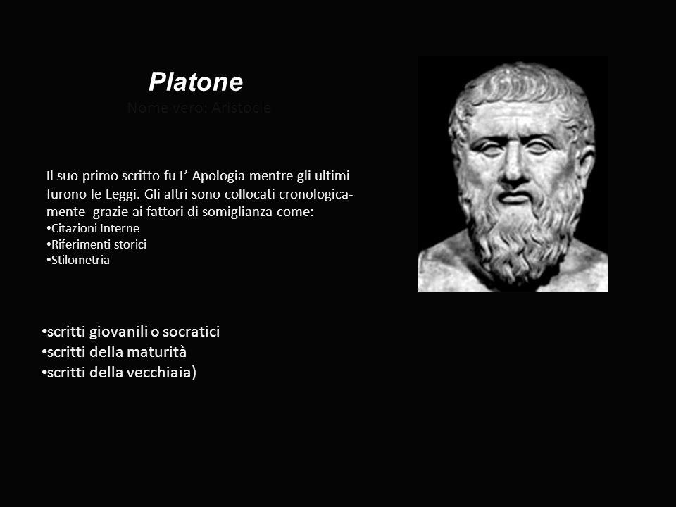 Platone Nome vero: Aristocle Il suo primo scritto fu L' Apologia mentre gli ultimi furono le Leggi. Gli altri sono collocati cronologica- mente grazie