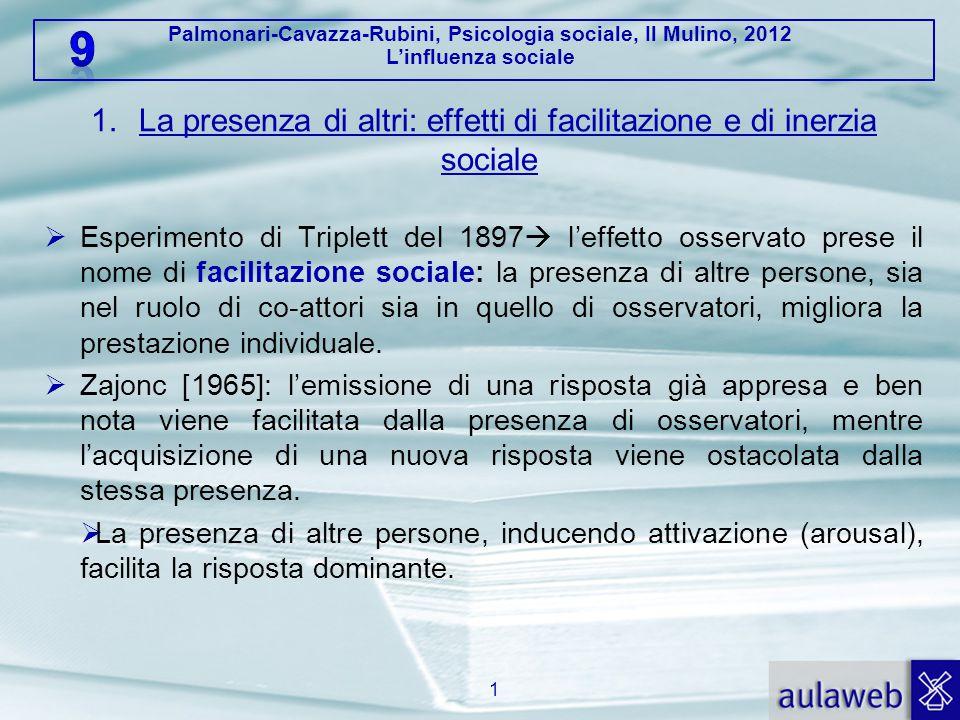 Palmonari-Cavazza-Rubini, Psicologia sociale, Il Mulino, 2012 L'influenza sociale 1.La presenza di altri: effetti di facilitazione e di inerzia social