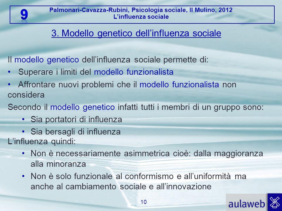Palmonari-Cavazza-Rubini, Psicologia sociale, Il Mulino, 2012 L'influenza sociale 3. Modello genetico dell'influenza sociale Il modello genetico dell'