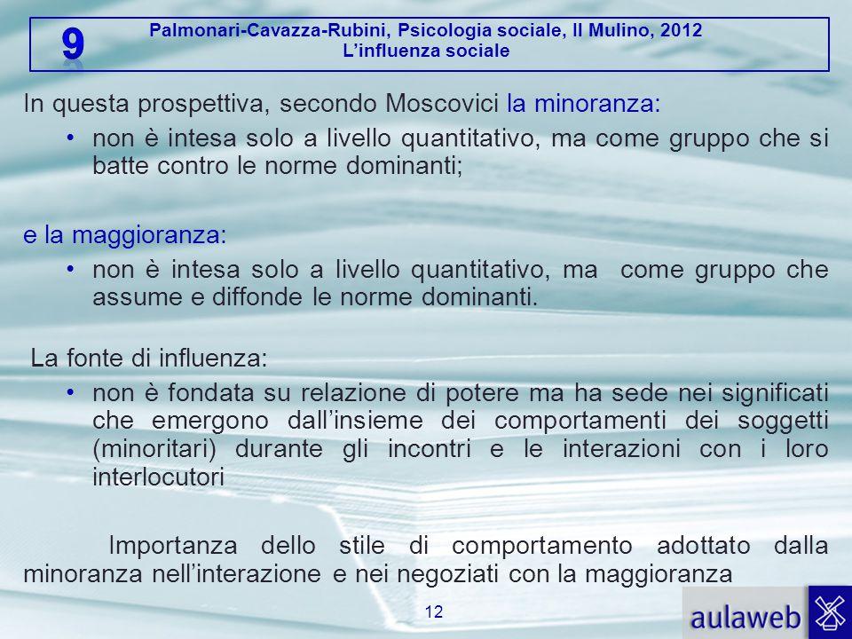 Palmonari-Cavazza-Rubini, Psicologia sociale, Il Mulino, 2012 L'influenza sociale In questa prospettiva, secondo Moscovici la minoranza: non è intesa