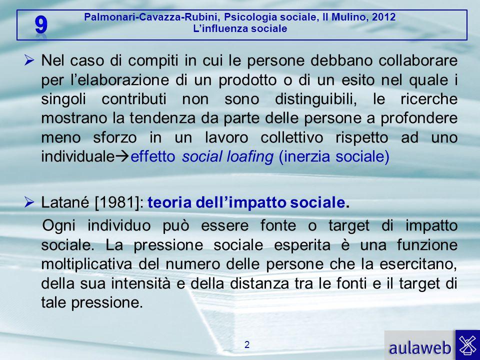 Palmonari-Cavazza-Rubini, Psicologia sociale, Il Mulino, 2012 L'influenza sociale  Nel caso di compiti in cui le persone debbano collaborare per l'elaborazione di un prodotto o di un esito nel quale i singoli contributi non sono distinguibili, le ricerche mostrano la tendenza da parte delle persone a profondere meno sforzo in un lavoro collettivo rispetto ad uno individuale  effetto social loafing (inerzia sociale)  Latané [1981]: teoria dell'impatto sociale.