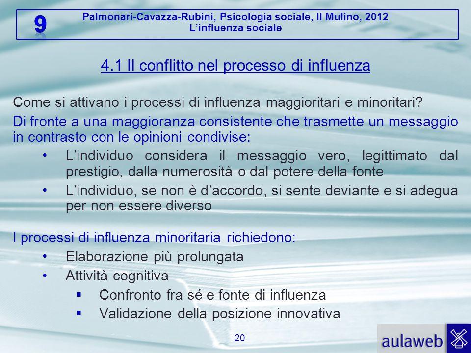 Palmonari-Cavazza-Rubini, Psicologia sociale, Il Mulino, 2012 L'influenza sociale 4.1 Il conflitto nel processo di influenza Come si attivano i processi di influenza maggioritari e minoritari.