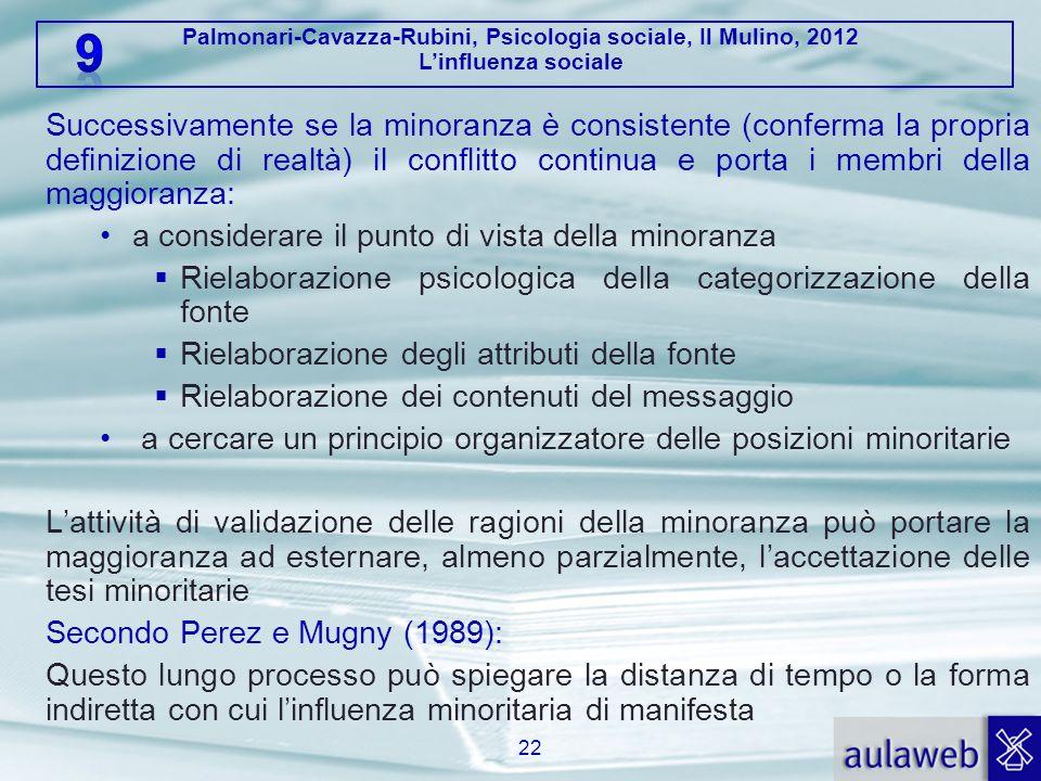 Palmonari-Cavazza-Rubini, Psicologia sociale, Il Mulino, 2012 L'influenza sociale Successivamente se la minoranza è consistente (conferma la propria d