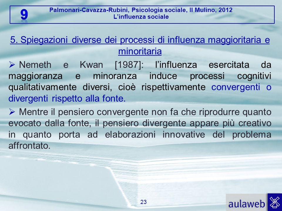 Palmonari-Cavazza-Rubini, Psicologia sociale, Il Mulino, 2012 L'influenza sociale 5. Spiegazioni diverse dei processi di influenza maggioritaria e min