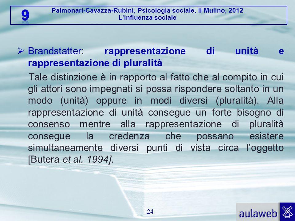 Palmonari-Cavazza-Rubini, Psicologia sociale, Il Mulino, 2012 L'influenza sociale  Brandstatter: rappresentazione di unità e rappresentazione di plur